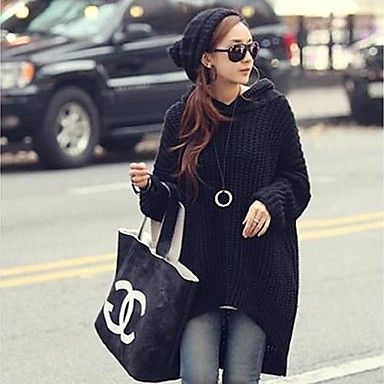 Mujeres Hoodies Batwing Oversize Punto Suéter Jumper - USD $ 22.79