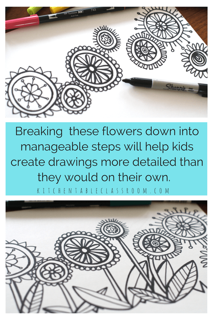 Draw a flower a colorful directed drawing exercise markers