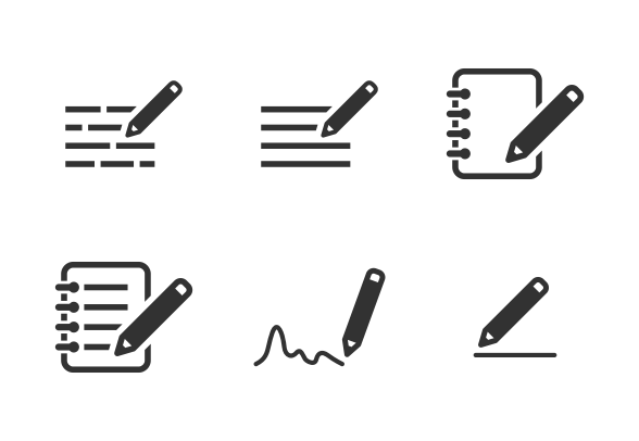 Writing Notes Icons By Milkghost Studio Writing Notes Charts And Graphs
