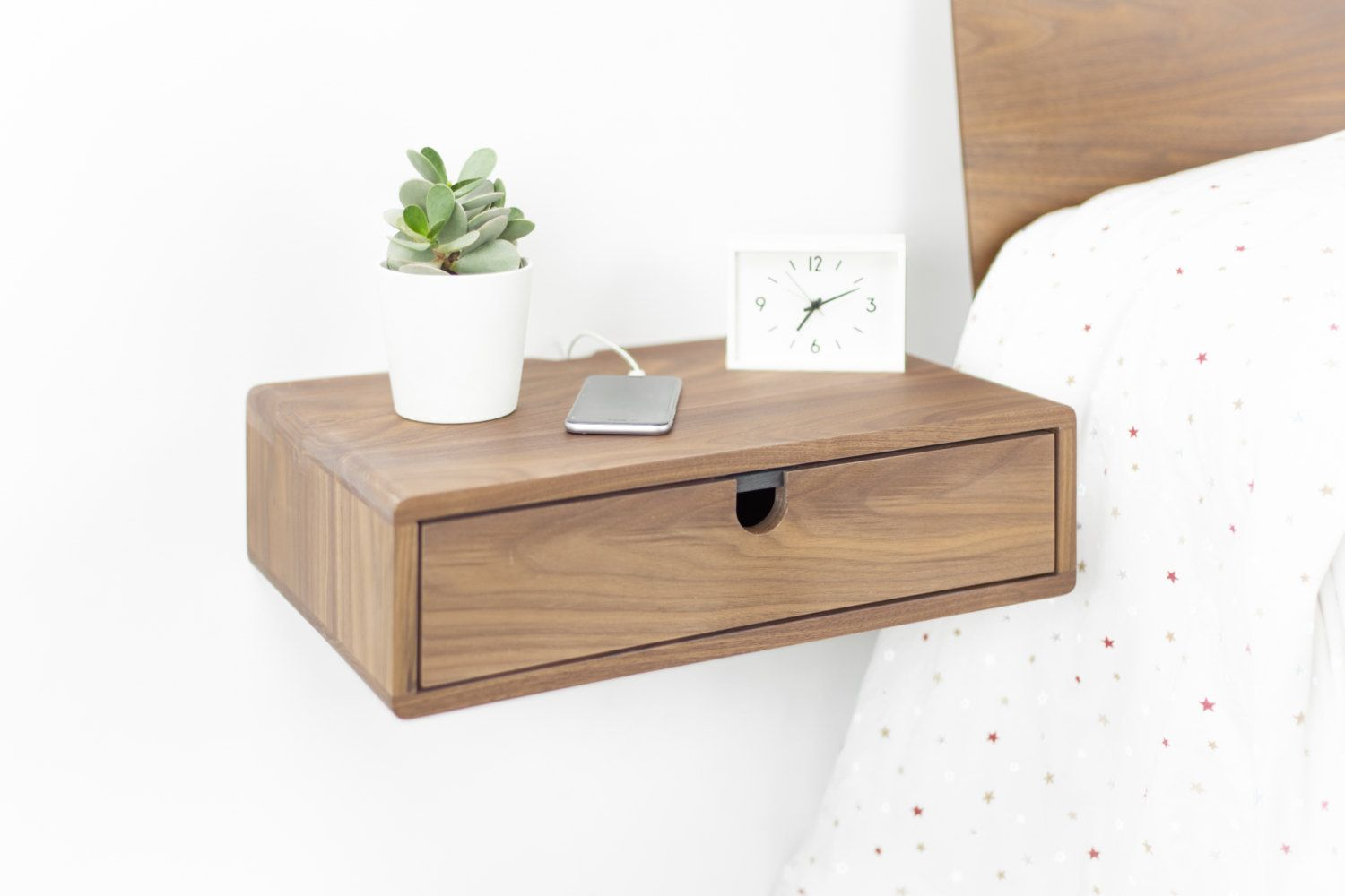 Best Floating Nightstand Bedside Table Drawer In Solid Walnut 400 x 300