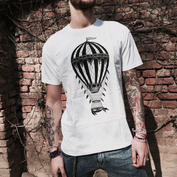 men's t-shirt, Hot air balloon t-shirt, tee shirt for man, steampunk  clothing, Tattoo t-shirt, Men's alternative clothing, boyfriend t-shirt