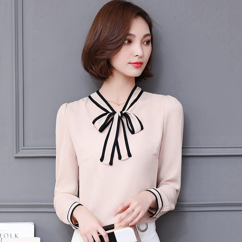 2017 Long Sleeve Shirts For Spring Women Bow Collar OL Blouses Tops Lace  Official Female shirt