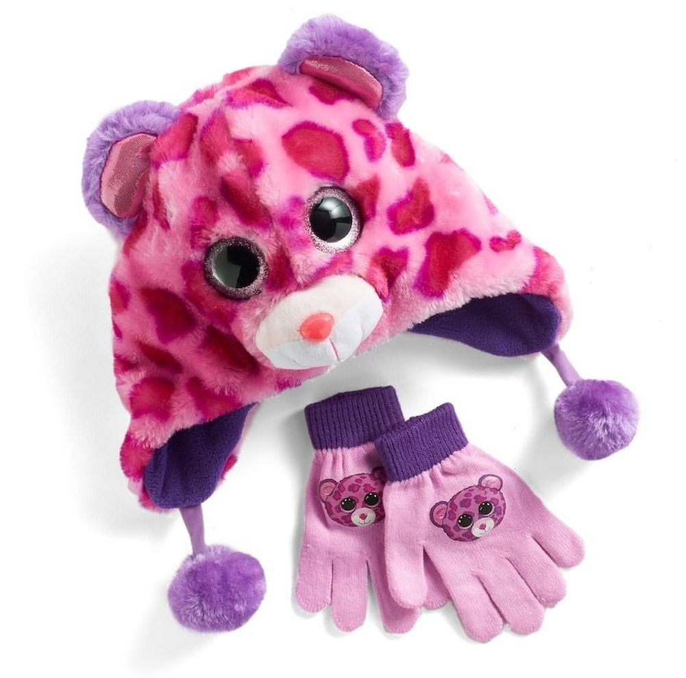 b92ce72681c Ty Beanie Boo Glamour Hat And Glove Faux-Fur Plush 3D Leopard Pink Purple  Set