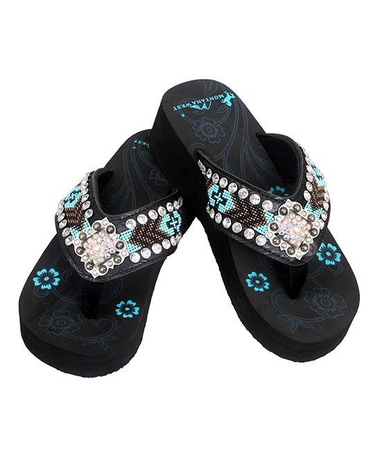 1345e3c74888c5 Turquoise   Black Beaded Wedge Flip-Flop