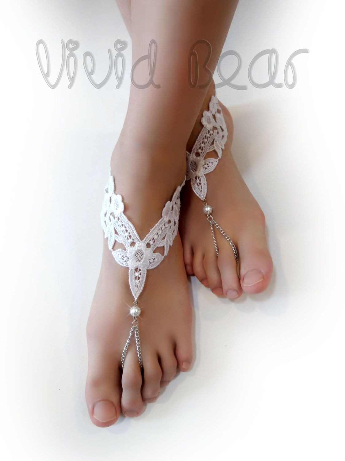 1b732e47af53 Lace Chain Barefoot Sandals. White Foot Jewelry. WhitePearl Beads. Silver  Chain Slave Anklets. Beach Wedding. Bridal Accessory.
