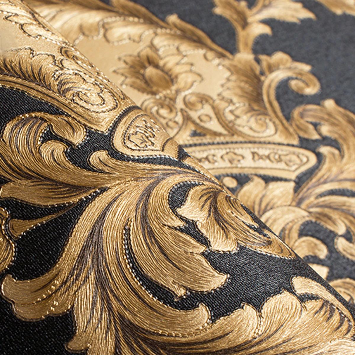 Luxury Embossed Black & Gold Damask Wallpaper Patterned