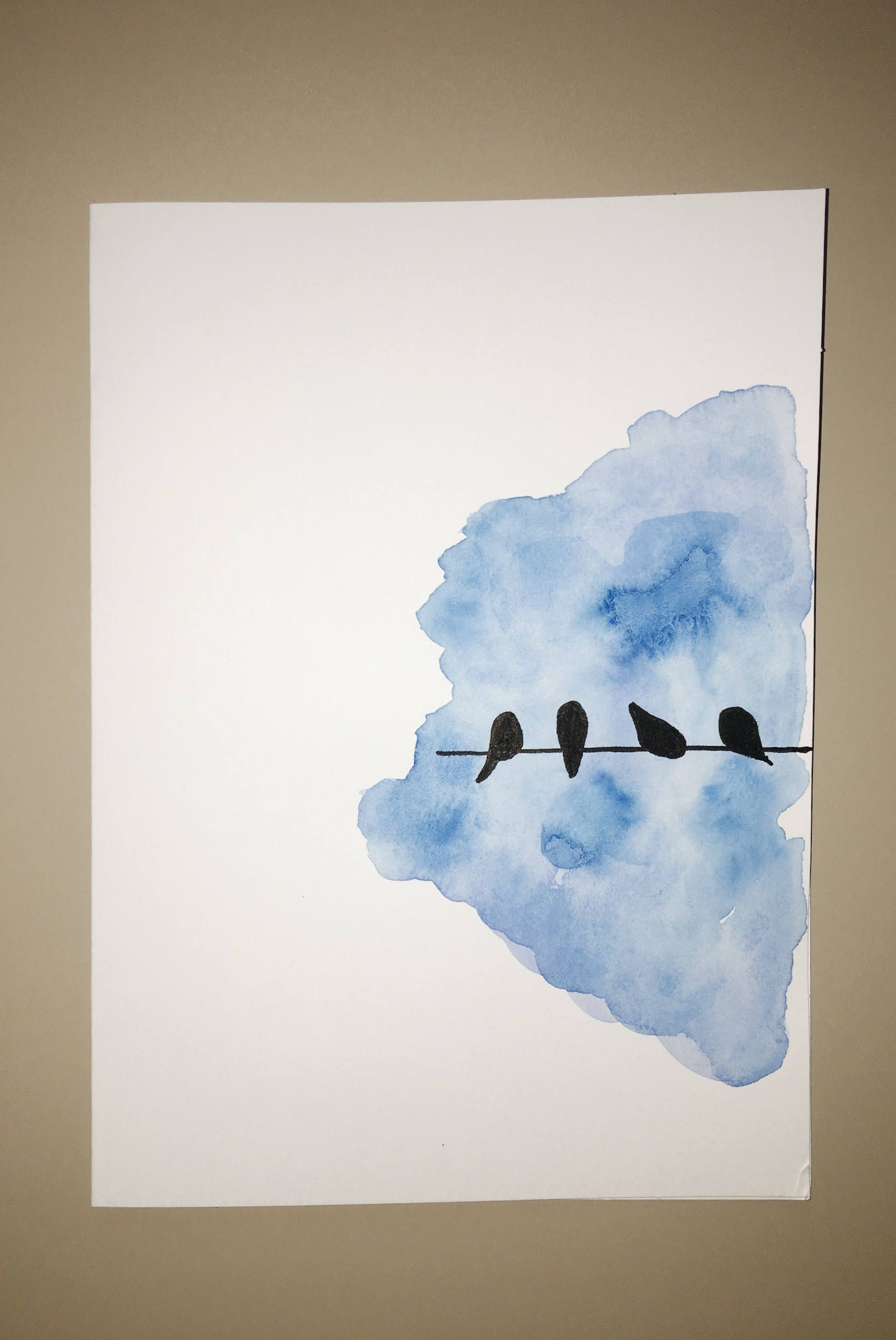 Birds On A Wire Card Bird Greeting Card Hand Painted Card Art In