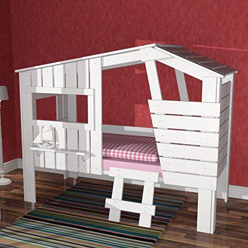 Hüttenbett Spielbett Kinderbett STRANDHAUS, weiss