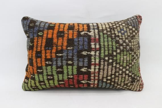 16x24 Kilim Pillow, Needlepoint Kits Pillow, Neck , Throw Pillow, Cushion Cover, Boho Pillow, Green