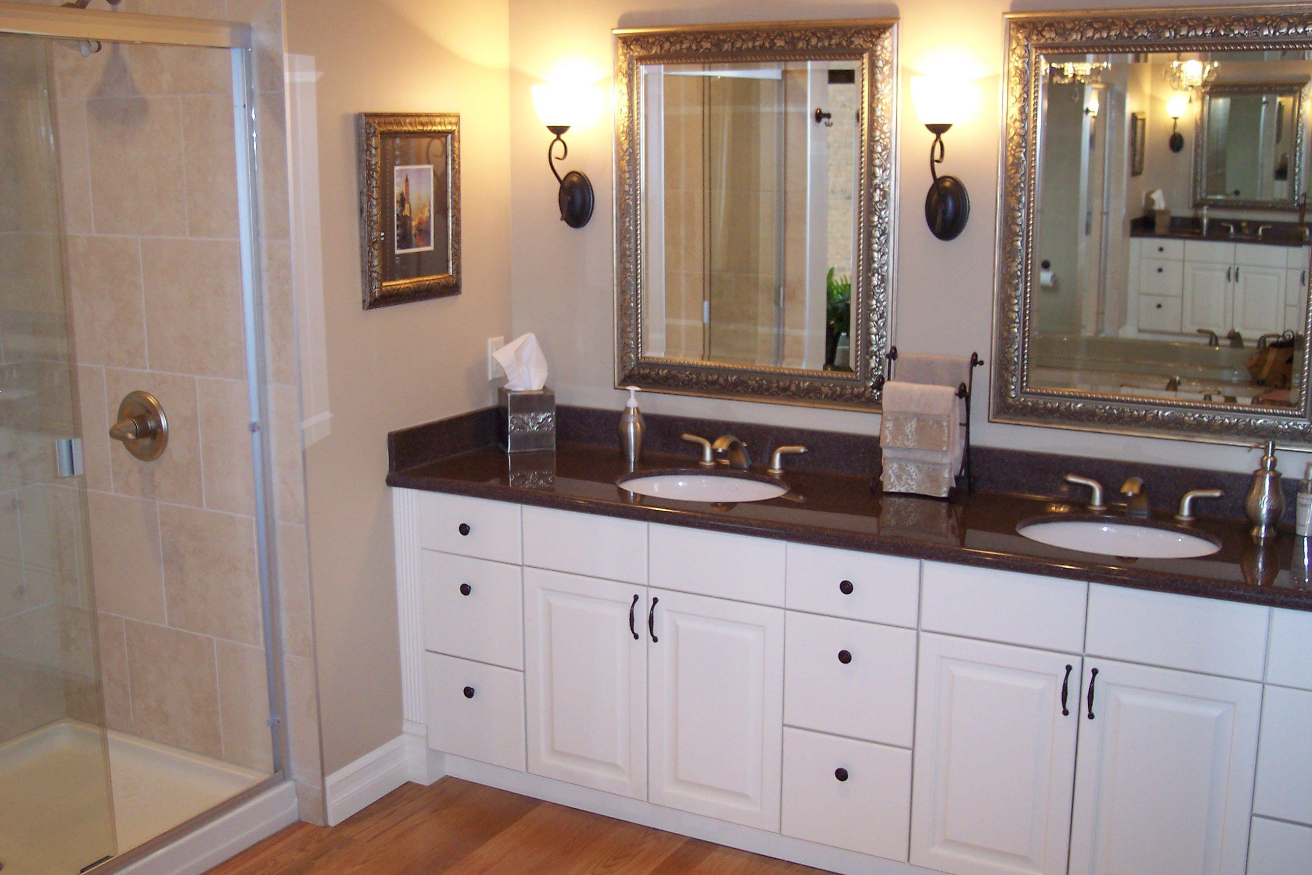 Woodlands Bathroom Vanity Tile Shower and Undermount Sinks