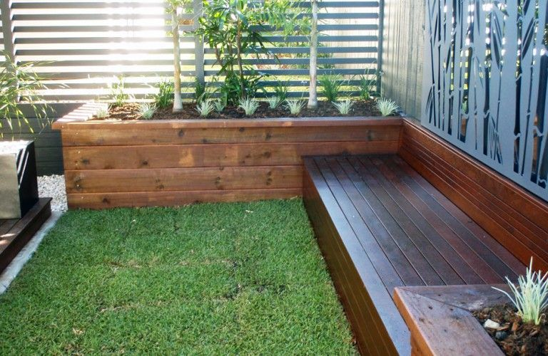 Garden Boxes With Seating And Steps Jr S Timber Fencing Contractor Brisbane Garden Planter Boxes Garden Seating Garden Retaining Wall