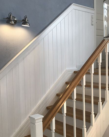 Photo of Beadboard.de Wall cladding in the stairwell – DIY thanks to a simple system. Ratione …