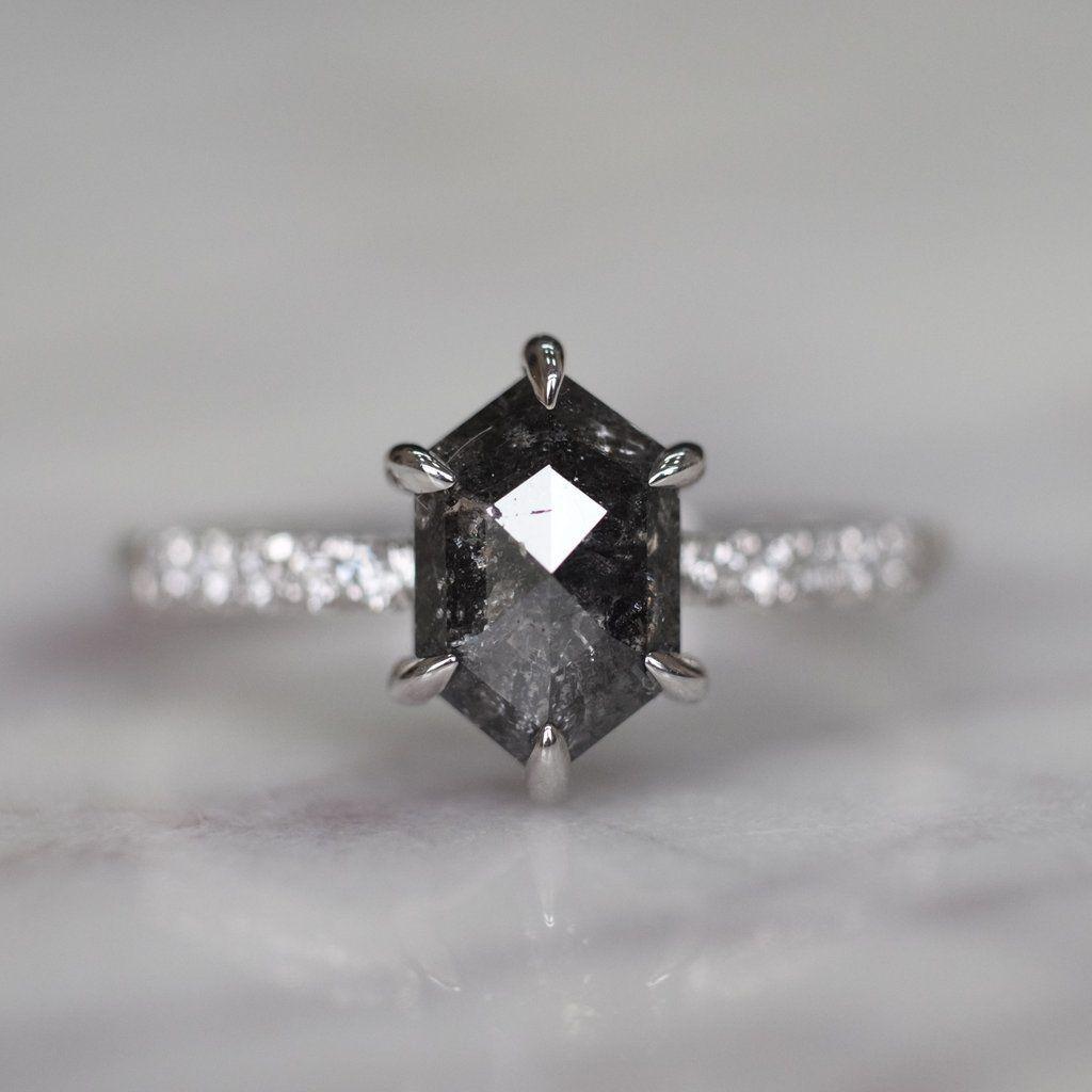 carat hexagon black diamond engagement ring jules setting k