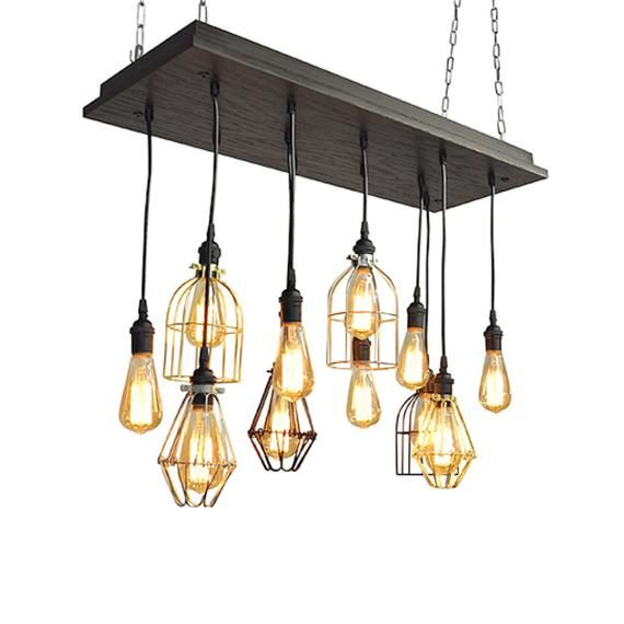 Industrial Cage Pendant Chandelier Mixed Cages With Bare Bulb