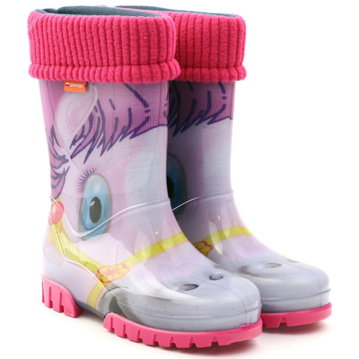 Kalosze Ciepla Skarpeta Demar Konik Granatowe Rozowe Zolte Szare Niebieskie Fioletowe Rain Boots Rubber Rain Boots Boots