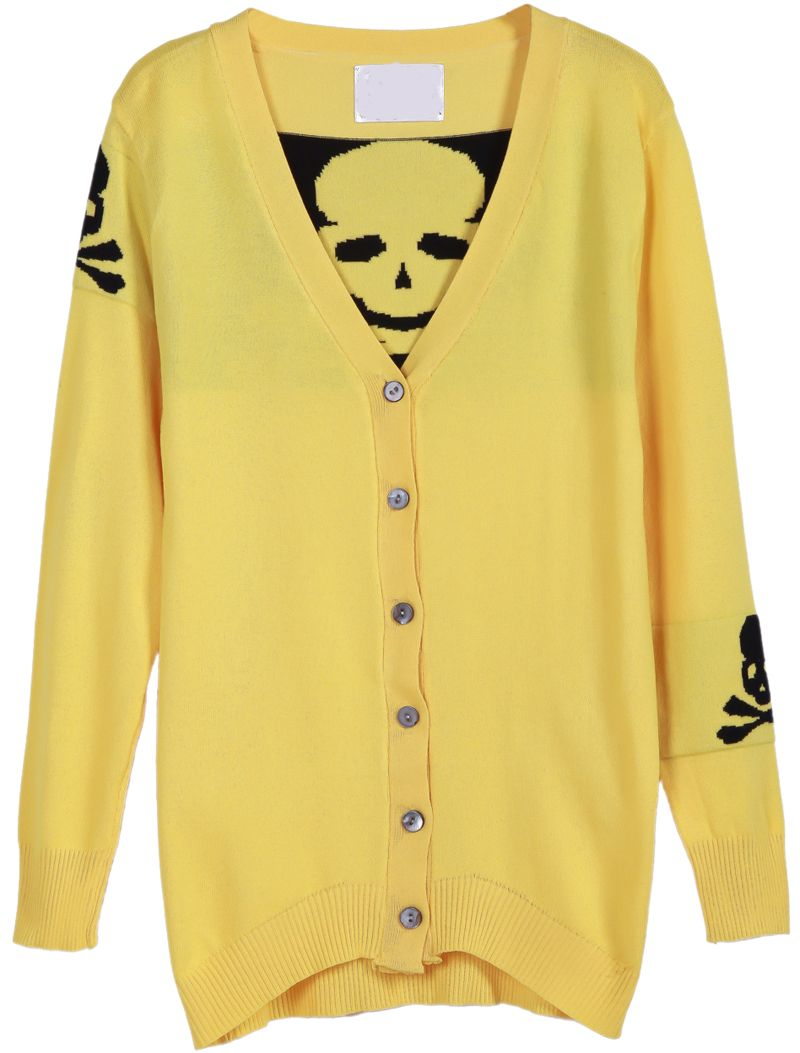 Yellow V Neck Long Sleeve Skull Pattern Cardigan Sweater US$22.13