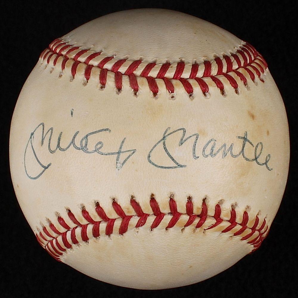 Mickey Mantle Signed Oal Baseball Jsa Loa At Pristine Auction Mickey Mantle Baseball Sports Memorabilia