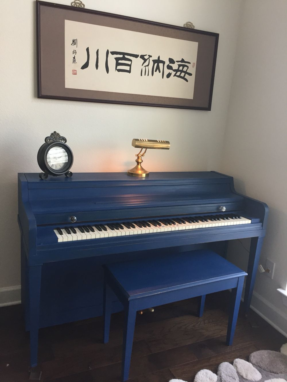 Chalk Painted Piano In Navy Blue Distressed And Coated In