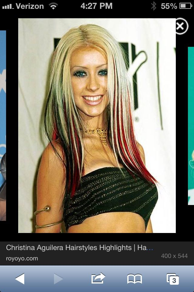 Blonde With Black And Red Highlights Christina Aguilera Hair Hair Streaks Hair Styles