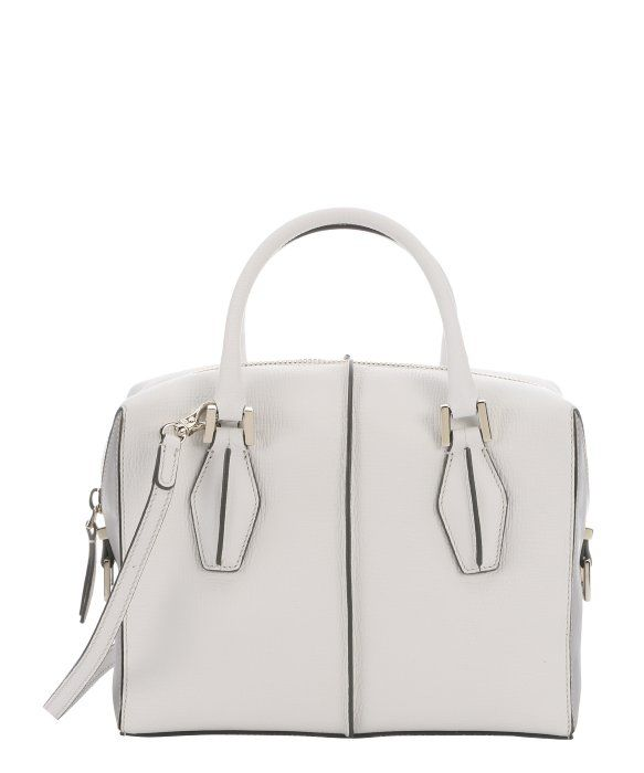 Tod's white and grey leather structured 'D-Cube' tote bag
