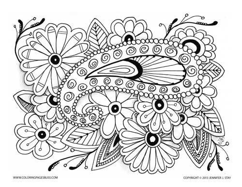 Beautiful Coloring Page Paisley On Flowers Pages For Adults And Grown Ups Stress