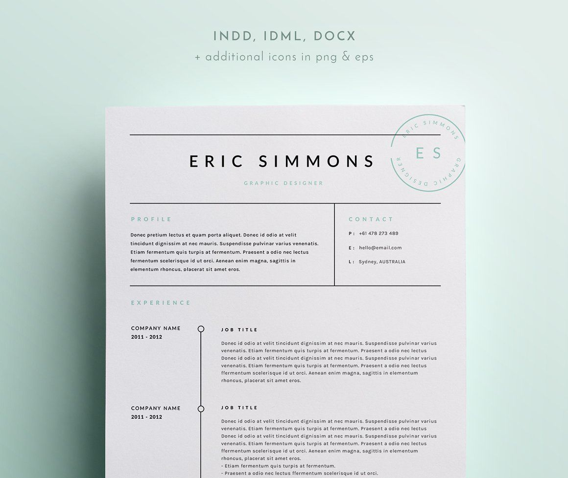 Page Resume Template  Indd  Docx  Creative Resume Templates