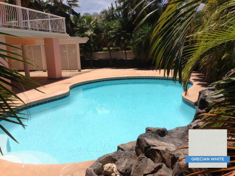 Hydrazzo Grecian White Really Brightens Up A Poolu0027s Blue Water Color. Huber  Pools, Maui