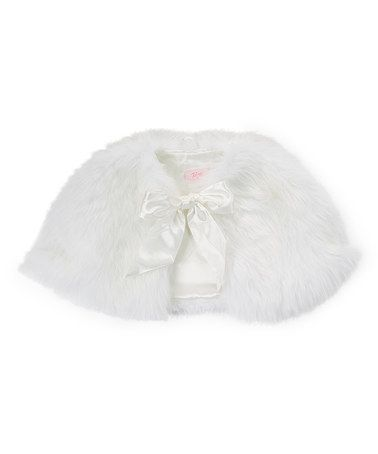 Look what I found on #zulily! White Faux Fur Oversize Capelet - Toddler & Girls #zulilyfinds