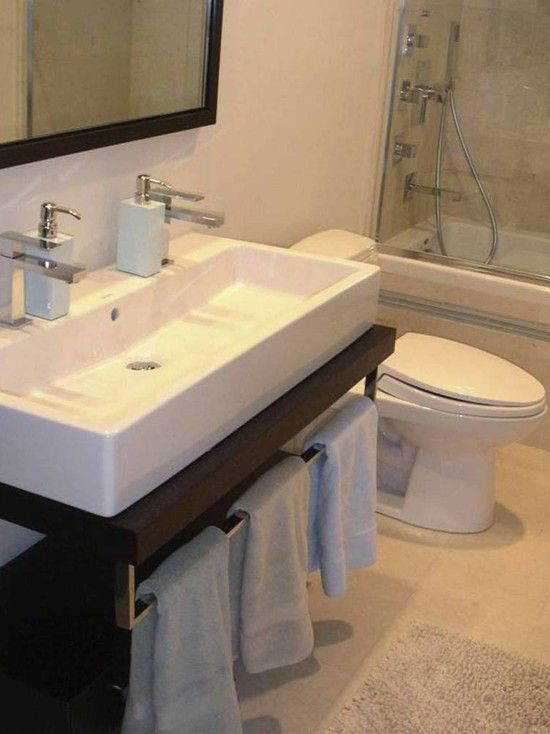 Houzz double sinks small design pictures remodel decor and ideas cabinets bathroom for Pictures of bathrooms with double sinks