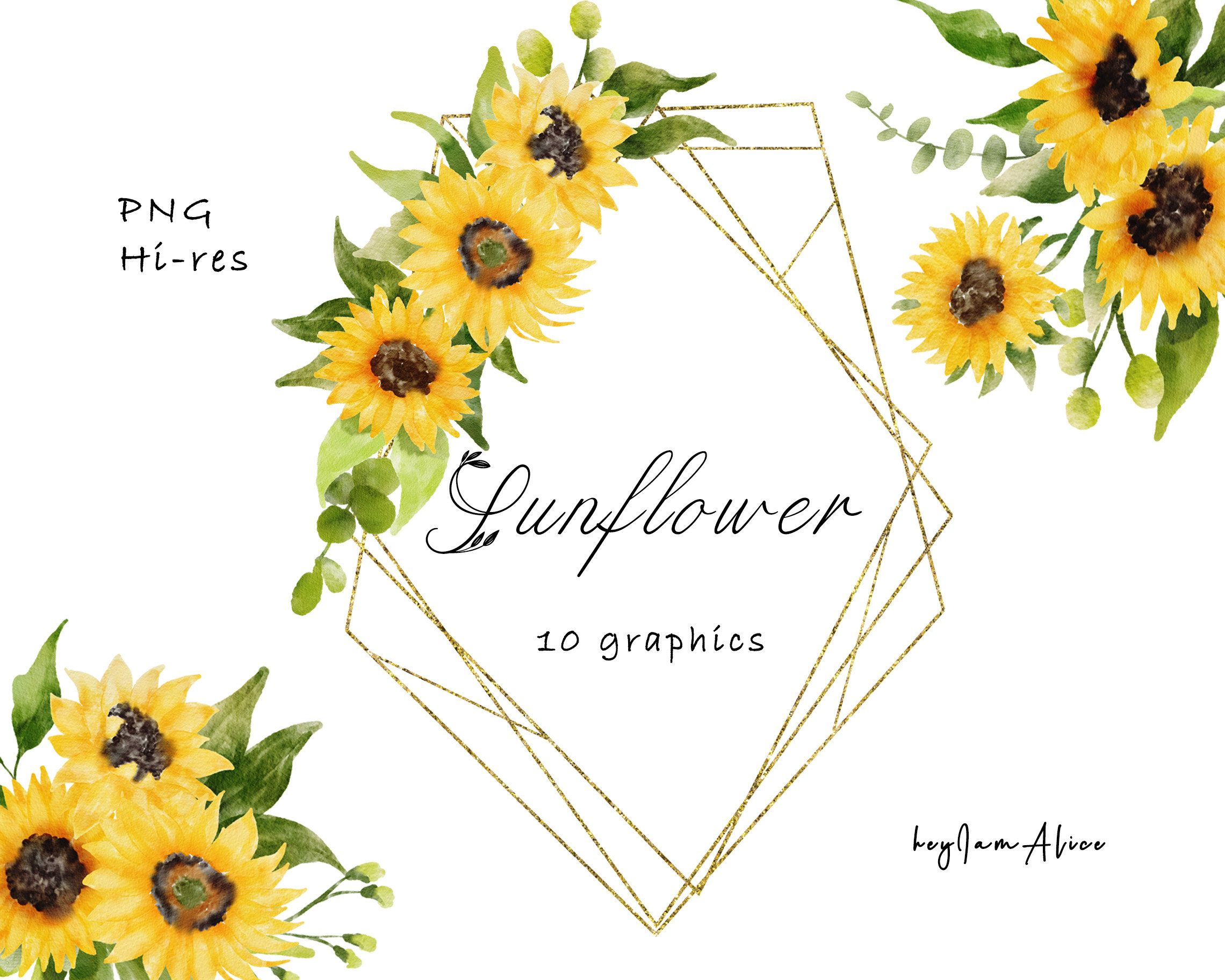Sunflower Watercolor Clipart Free Commercial Use Greenery Clipart Wedding Diy Yellow Sunflower Graphic Commercial Border Png Digital Watercolor Sunflower Clip Art Watercolor Clipart