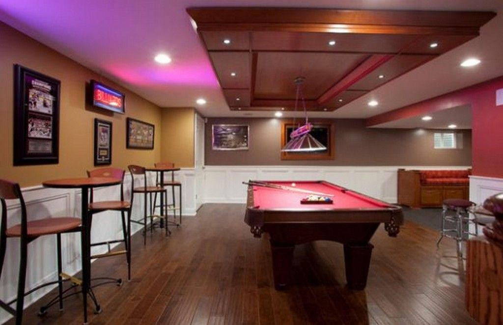 Contemporary Billiard Room With Small Pedestal Table And Stools Chairs Also Neon Lights Give The Game Room A Sense Of Authenticity: Fun Game Room Design Ideas for Relaxing Place