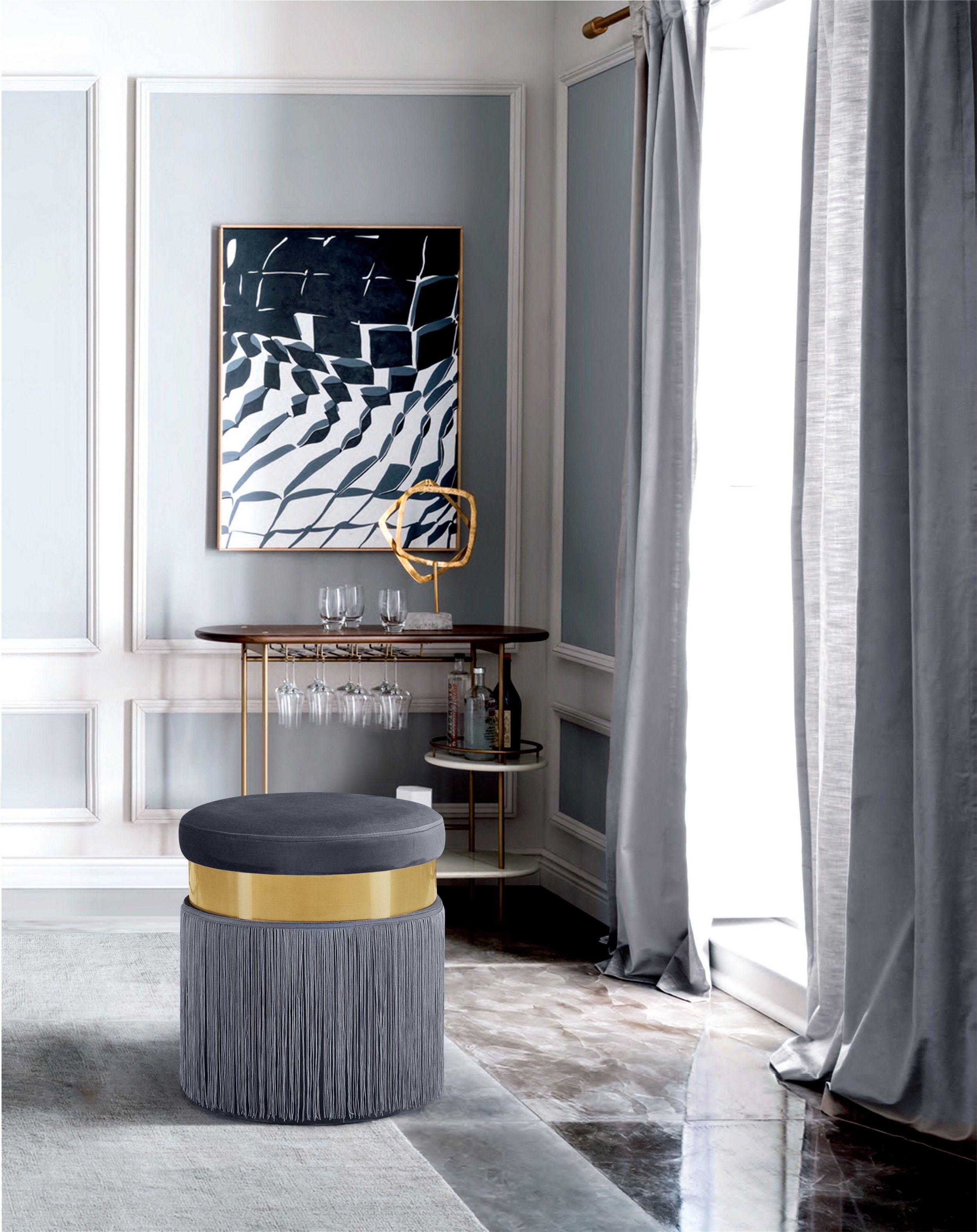 Meridian Jasmine Gray  Velvet Contemporary Ottoman W/ Gold Stripe