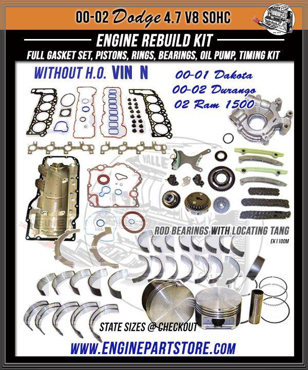 0002 Dodge Dakota Durango Ram 1500 4.7 V8 16V engine