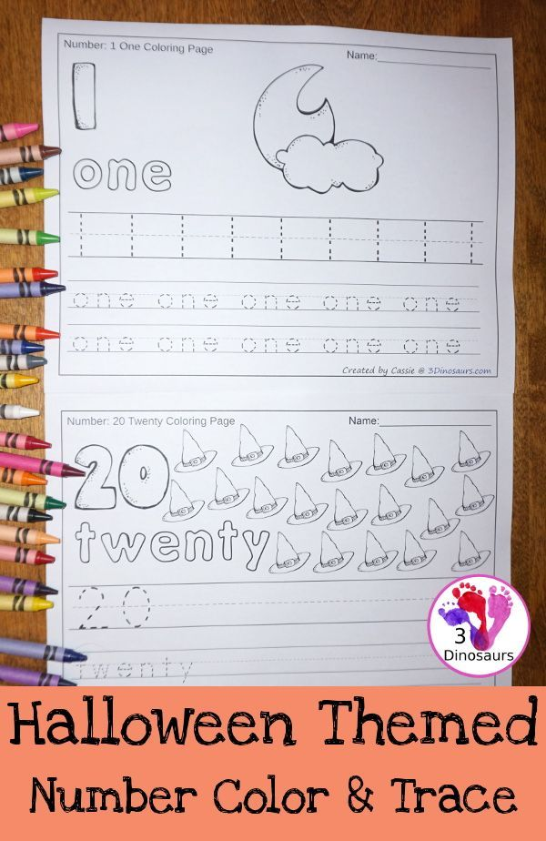 Halloween Themed Number Color  Trace - numbers 0 to 20 with tracing - halloween writing ideas