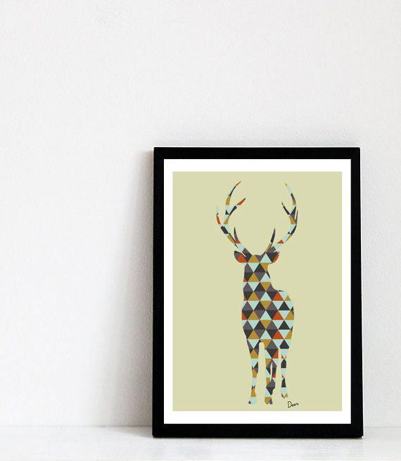 cerf forme g om trique inspiration scandinave illustrations posters formes geometrique et cerf. Black Bedroom Furniture Sets. Home Design Ideas