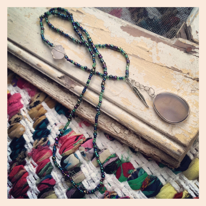 Beautiful Quartz and Feather seamless necklace now in the shop!  www.etsy.com/shop/sendingoutlove