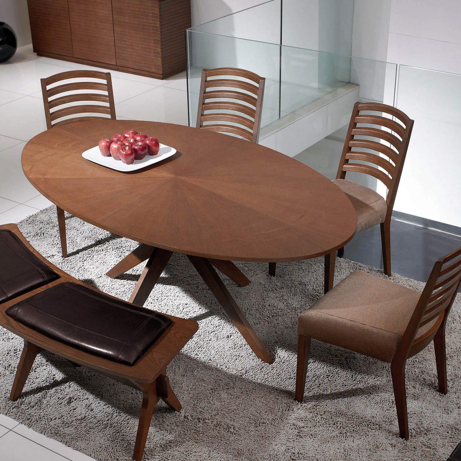 Rooms To Go Dining Table: Oval Dining Table In Walnut Wood