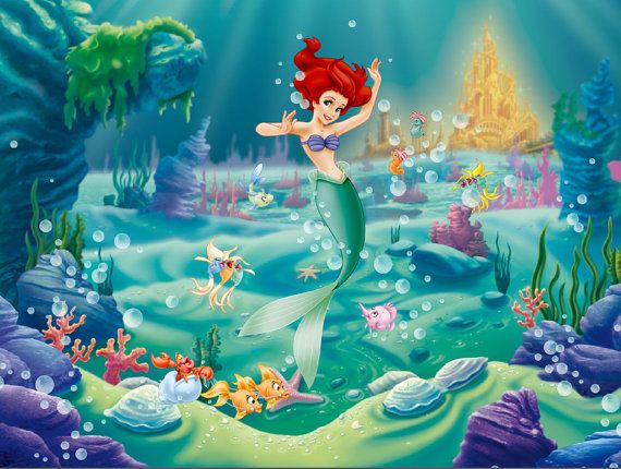 Little Mermaid Backdrop Little Mermaid Birthday Party Background For Decorating Dessert Table Disney Wall Murals Mermaid Pictures Disney Princess Wallpaper