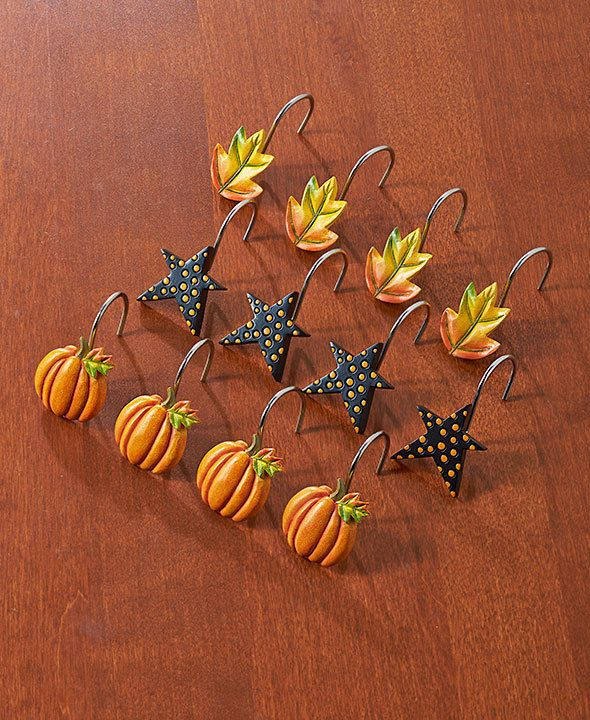 Fall Shower Curtain Hooks Pumpkins Stars Leaves Decor Country