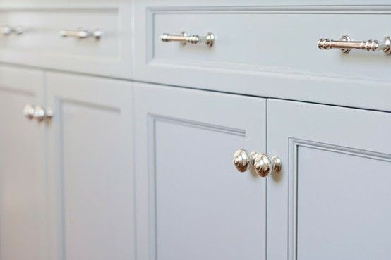 Satin Nickel Cabinet Knobs And Pulls On White Kitchen Cabinets