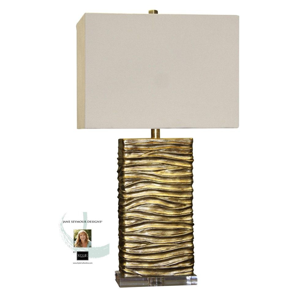 Jane Seymour   A Clear Base Supports This Creative Table Lamp With A Finish  Of Interwoven