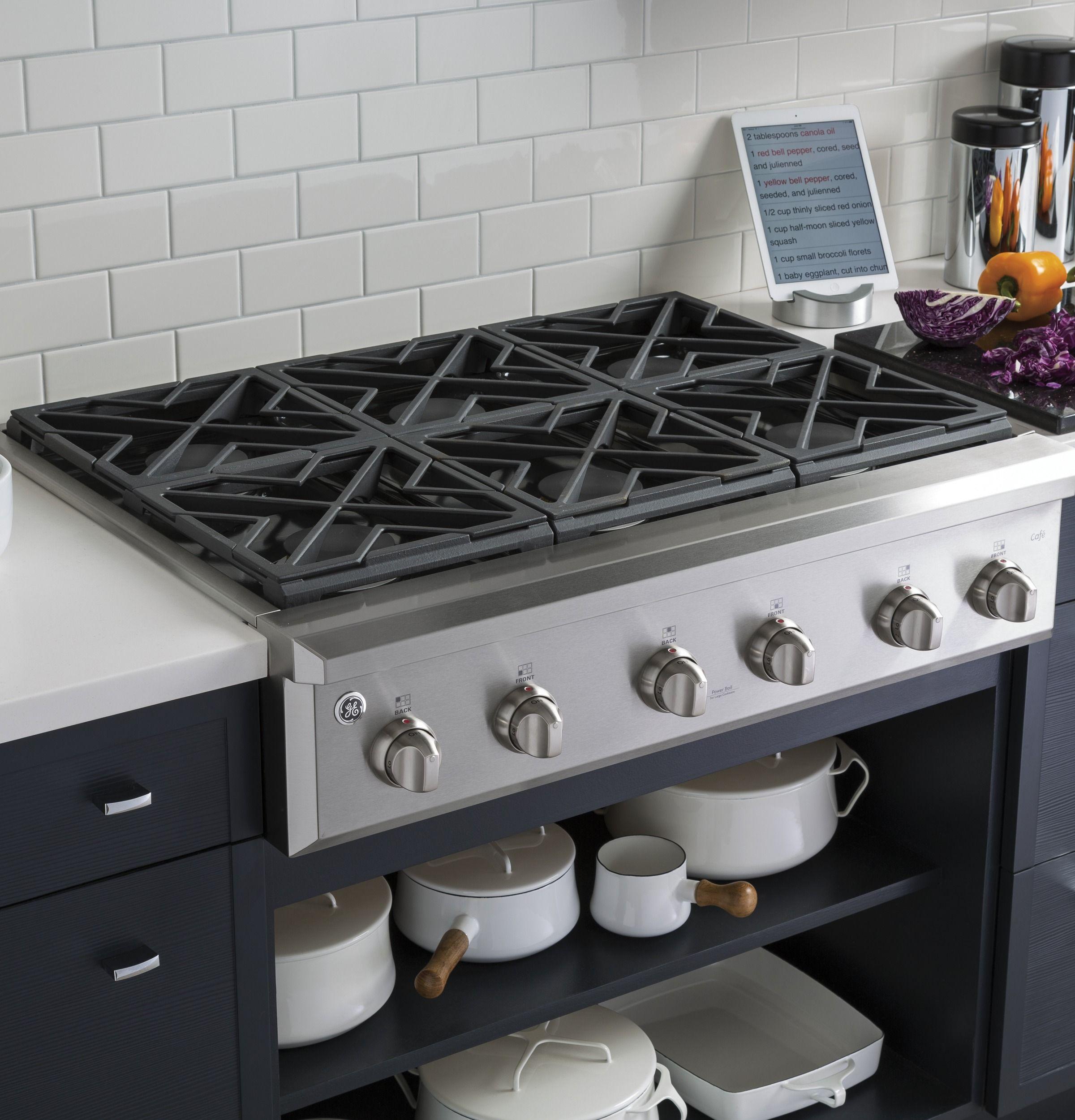 Ge Cafe Series 36 Gas Rangetop Cgu366sehss Modern Kitchen Stoves Kitchen Remodel Kitchen Stove Design