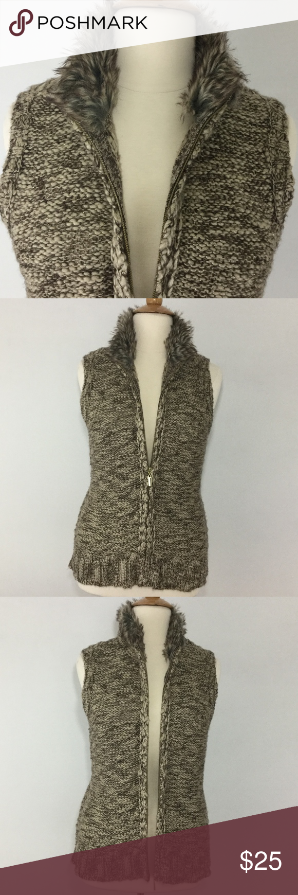 Sweater Vest w/ Faux Fur - Brown Cream & Gold | Gold sweater, Club ...