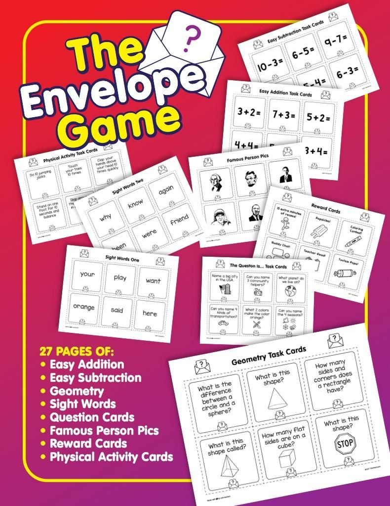 The Envelope Game Brain Breaks Activity Pack Classroom