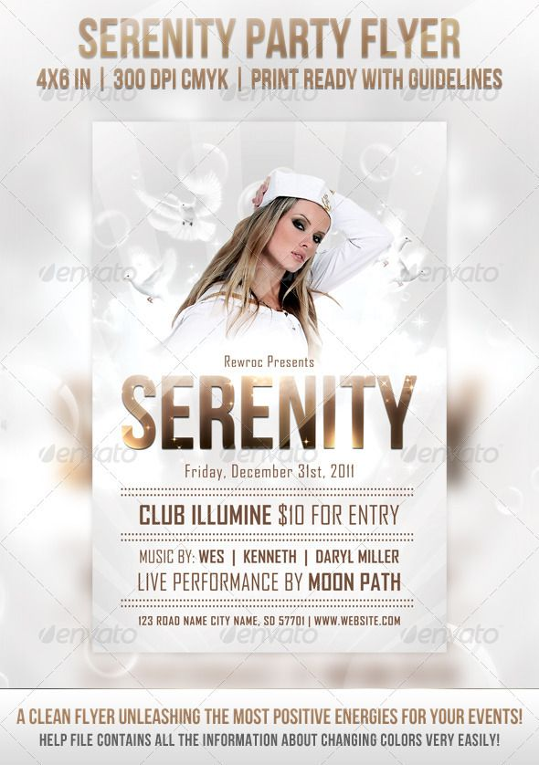 Serenity Party Flyer Abstract Advertising Bird Black Blue