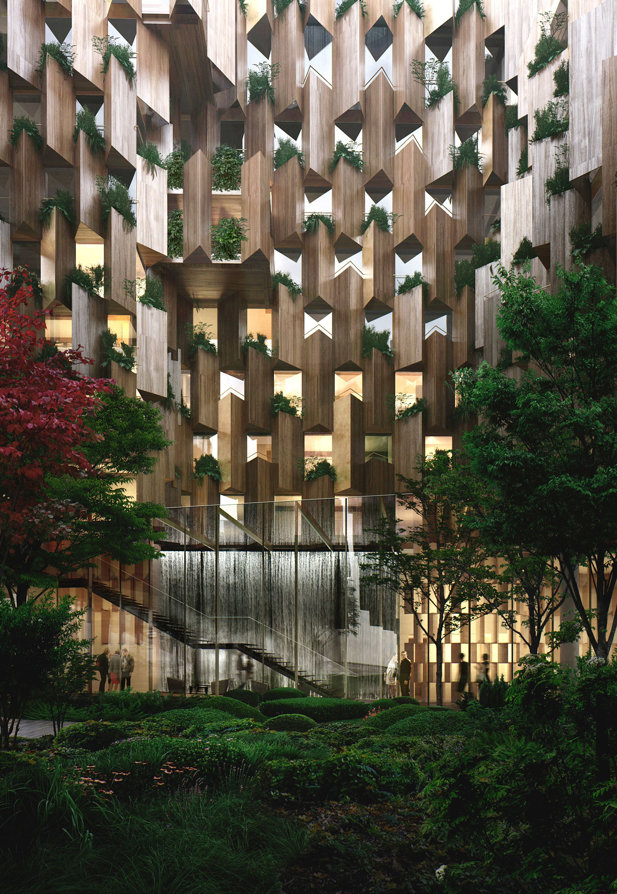 Kengo kuma reveals plant covered eco luxury hotel for paris