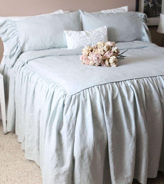 Ruffled linen shabby chic duvet cover the mirabelle linen duvet cover in french blue by tickingandtoile