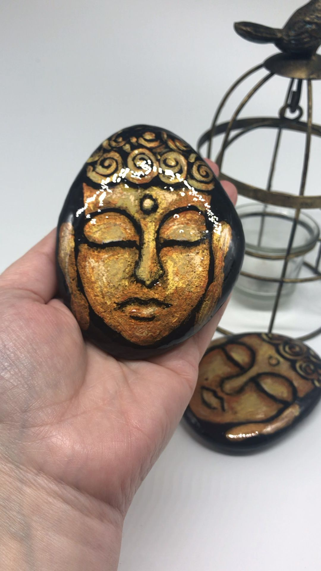 Golden Buddha painted rock by Christine Onward  #buddhadecor