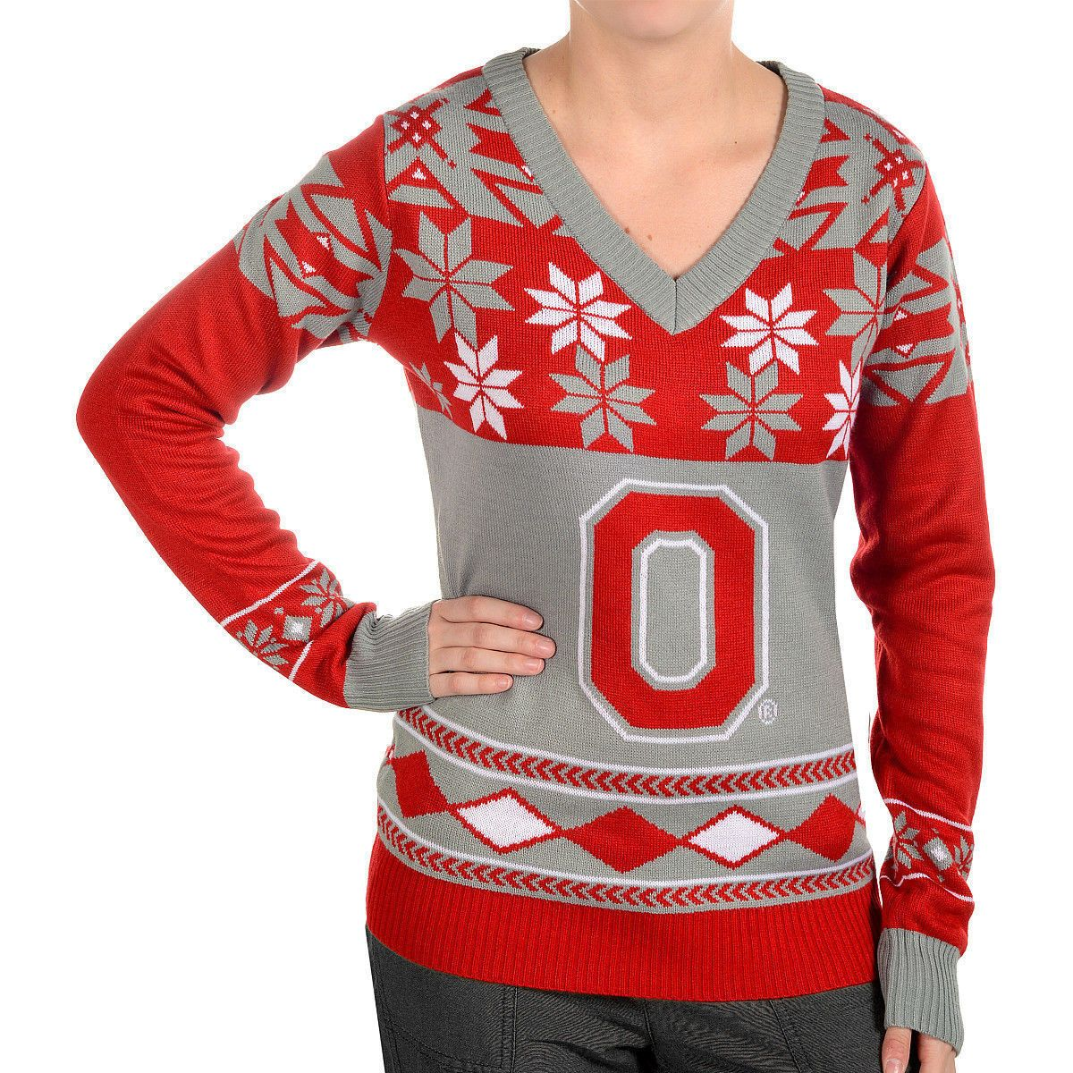 Women\'s Ohio State Buckeyes Big Logo V-Neck Ugly Christmas Sweater ...