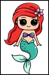 How To Draw The Little Mermaid Cartoon Characters Drawing